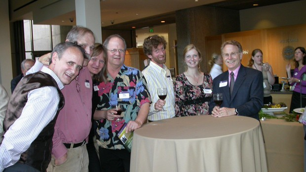 Celebrating the launch of the Oregon Experience series with (left to right) Tom Shrider, Jack Berry, Nadine Jelsing, Eric Cain, Mike Midlo, Kami Horton and Jeff Douglas