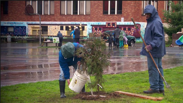 A rainy (and muddy) Friends of Trees planting at Cesar Chavez School in North Portland.