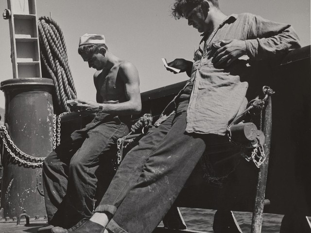 Victor Jorgensen (American, 1914-1994), Untitled (off-duty crew reading mail from home) from 1945.