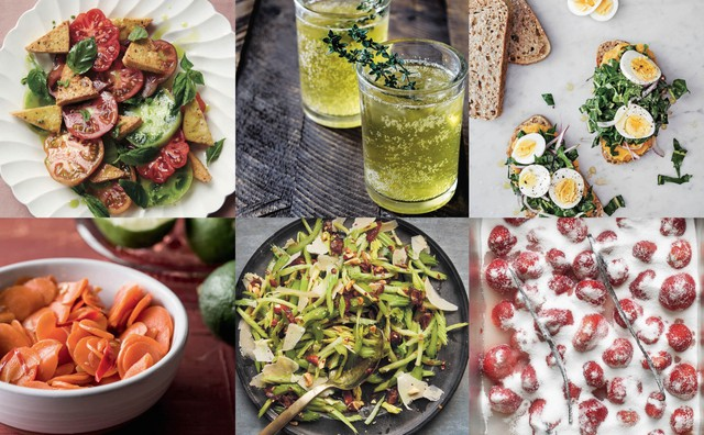 """Dishes from a half dozen new Pacific Northwest cookbooks (clockwise from top left): """"PNW Veg,"""" """"Dishing Up the Dirt,"""" """"The Book of Greens,"""" """"Candy Is Magic,"""" """"Six Seasons: A New Way with Vegetables"""" and """"Fiery Ferments."""""""