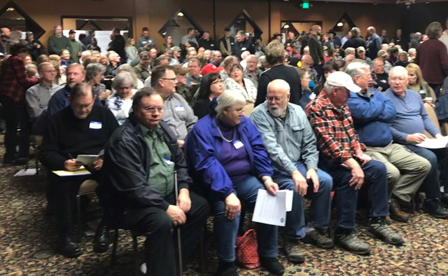 More than 300 people gathered in Clarkston, Washington Jan. 7, 2020 to hear perspectives on the lower Snake River dams. Ultimately a decision on their fate is up to Congress.