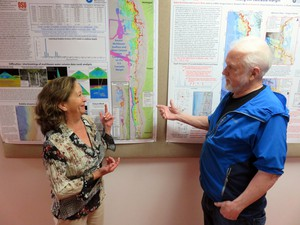 Methane seep researchers Susan Merle and Bob Embley at Oregon State University's Hatfield Marine Science Center.