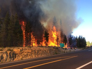 The Sheridan fire near Sunriver, Oregon, started around 4:30 p.m. Tuesday.