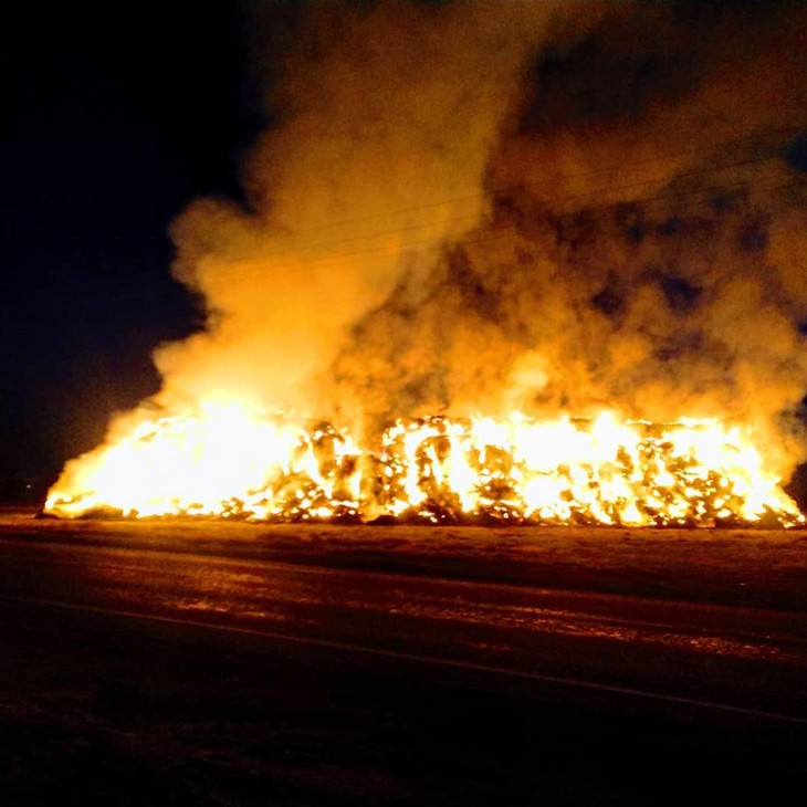 A haystack on fire in Franklin County, north of Pasco, Washington, on Saturday, Nov. 30.