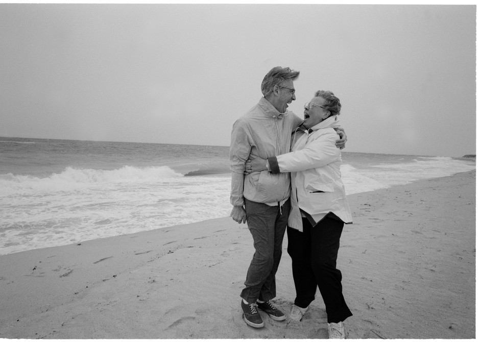 In Nantucket, Fred and his wife, Joanne, enjoy the wind on the beach in 1992.