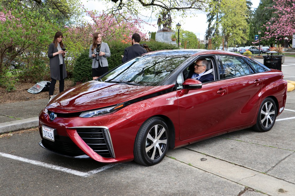 Gov. Jay Inslee sets out on a short test drive Wednesday in a Toyota Mirai hydrogen fuel cell car.