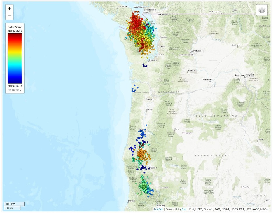 Dots represent slow-slip tremors detected between Aug. 13 and Aug. 27.