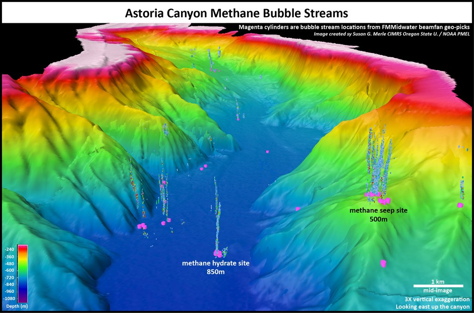 Researchers locate methane seeps by looking for telltale bubble streams on sonar imaging.
