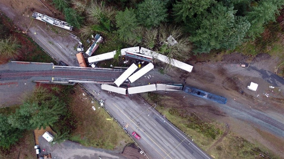 Amtrak Cascades Train 501 was going more than twice the posted speed limit when it derailed at a sharp turn near DuPont, Washington, on December 18, 2107