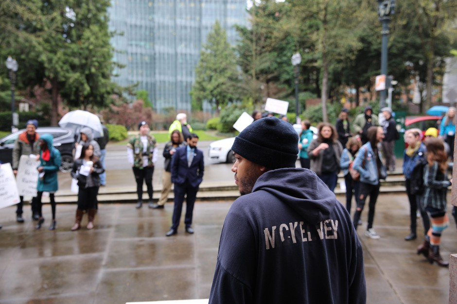 People gathered outside Portland City Hall April 11, 2018 following the death of 48-year-old John Elifritz. Elifritz was shot by police.