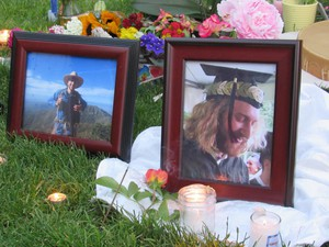 Mourners lit candles and laid flowers at a memorial for Taliesin Namkai-Meche of Ashland, Ore. Namkai-Meche died in 2017 while trying to defend young women of color on a MAX train in Portland.