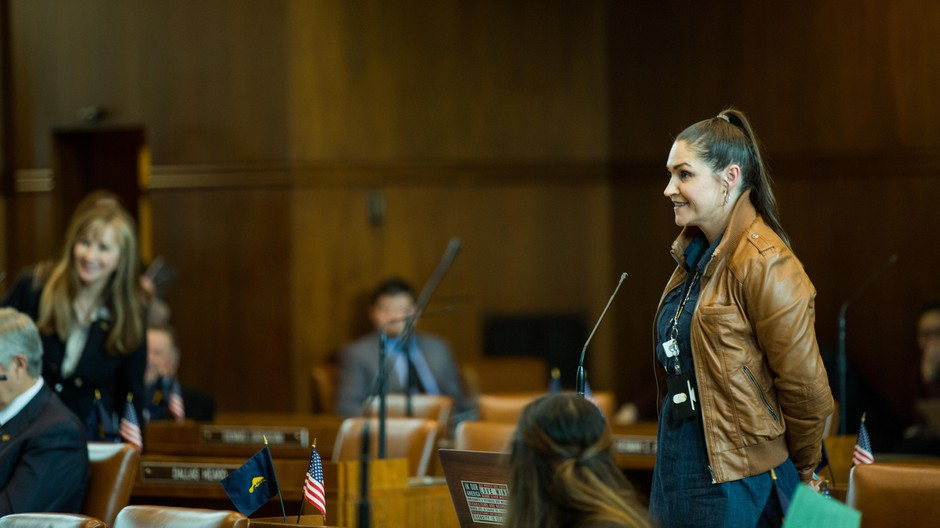Democratic Oregon state Sen. Shemia Fagan asks Republican state Sen. Kim Thatcher a question in the chambers at the Oregon Capitol in Salem, Ore., Tuesday, April 2, 2019.
