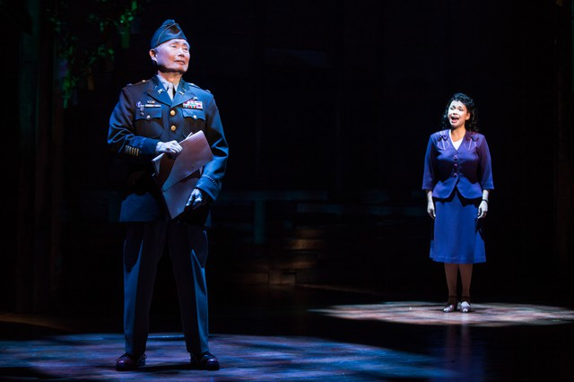"""George Takei and Lea Salonga in a scene from """"Allegiance,"""" a Broadway musical co-written by former Portlander Marc Acito."""