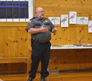Grant County Sheriff Glenn Palmer addresses the Grant School District 3 board on the subject of arming teachers and staff during an April 18 meeting in Seneca.
