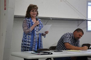 Harney County Commissioner Patty Dorroh speaks at a community hearing on Tuesday, May 7, 2019.