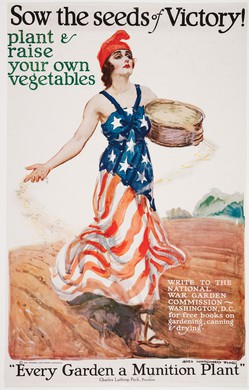 During World War I, the homefront fought with Victory Gardens and Meatless Mondays.