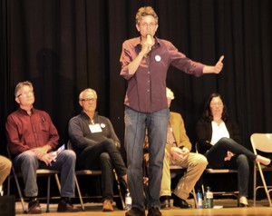 Jamie McLeod-Skinner speaks at a Democratic forum in The Dalles for candidates seeking the party's nomination in Oregon's 2nd Congressional District. Seven candidates are in the race.