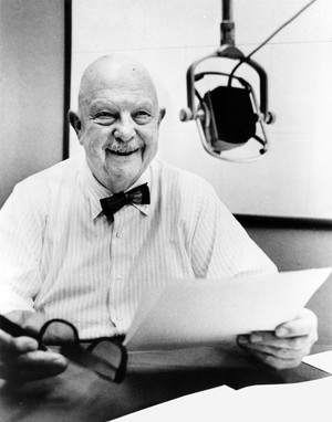 In this undated photo, James Beard sits for an interview at Reed College in Portland, Oregon.