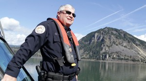Mitch Hicks patrols the Columbia River above Bonneville Dam.