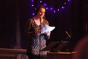 Maggie Bursch won raucous applause at the Voodoo Room with poems about growing up on the ocean and fending off come-ons from fishermen her granddad's age.