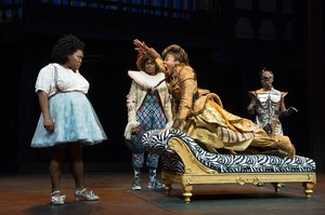 "Christiana Clark, center, plays the lion in director Robert O'Hara's production of ""The Wiz"" at the Oregon Shakespeare Festival. Clark was the recent target of racist threats and a death threat in Ashland."
