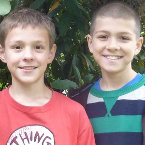 """Jeremy Clark (left) and Charlie Abrams (right) are the Portland 5th graders behind the """"Two Green Leaves"""" blog."""