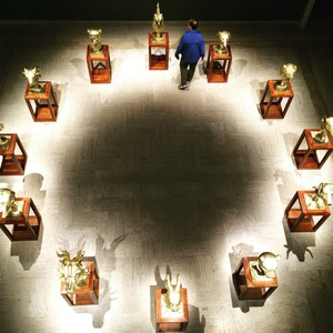 """An aerial view of Ai Weiwei's """"Circle of Animals/Zodiac Heads: Gold (2010)"""" on view at Portland Art Museum."""