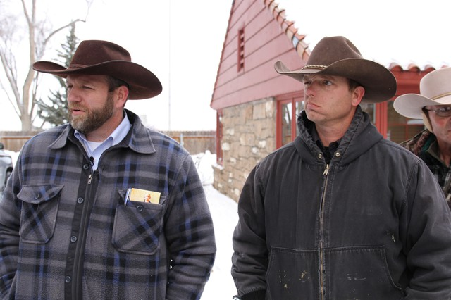 Ryan Bundy, right, told OPB that he and the other armed men occupying the Malheur National Wildlife Refuge headquarters will leave if Harney County residents want them to. The self-proclaimed militiamen have been occupying the buildings sinceSaturday.