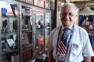 Bruno Carnovale, an 89-year-old World War II veteran, visits the Republican National Convention marketplace in Cleveland, July 20, 2016.