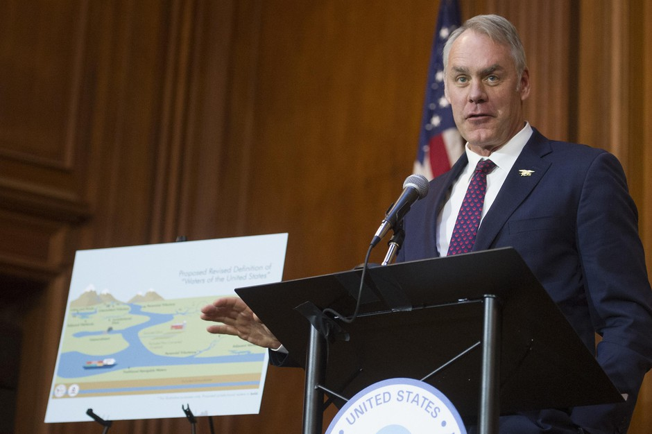 Secretary of the Interior Ryan Zinke speaks after an order withdrawing federal protections for countless waterways and wetlands was signed, at EPA headquarters in Washington, Tuesday, Dec. 11, 2018.