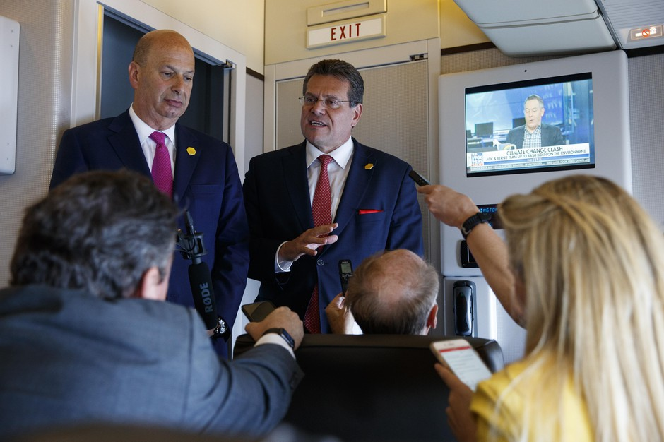 U.S. Ambassador to the European Union Gordon Sondland, left, listens as European Union Vice President Maros Sefcovic speaks with reporters about trade as he travels with President Donald Trump, Tuesday, May 14, 2019, aboard Air Force One.