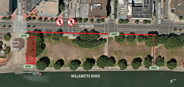 The Police Bureau requested a fence be erected along the north, west and south sides of Tom McCall Waterfront Park between Southwest Salmon Street and Southwest Morrison Street for protests on Aug. 4, 2018.