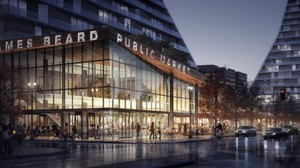 Preliminary designs for the James Beard Market at the base of the Morrison Bridge by the Norwegian architecture firm Snøhetta.
