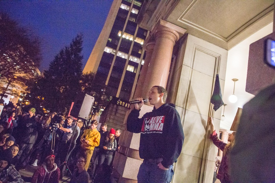 Sean Kealiher speaks at a rally following the election of Donald Trump as president of the United States on Nov. 11, 2016, in Portland, Ore. Kealiher was killed in a hit and run outside Cider Riot! in Portland on Oct. 12, 2019. Police are investigating it as a homicide.