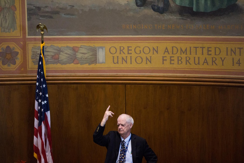 Senate President Peter Courtney, D-Salem, signals his vote during a marathon session at the Oregon Capitol on Saturday, June 29, 2019. The Senate had more than 100 bills on which to vote before mandatory adjournment June 30.