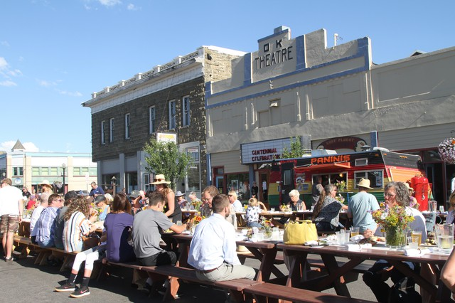 A community dinner celebrating the 100th anniversary of the OK Theater in Enterprise, Oregon.
