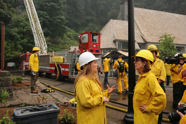 Gov. Brown disagreed with the suggestion that firefighters were slow to react to the fast-growing blaze in the Gorge.