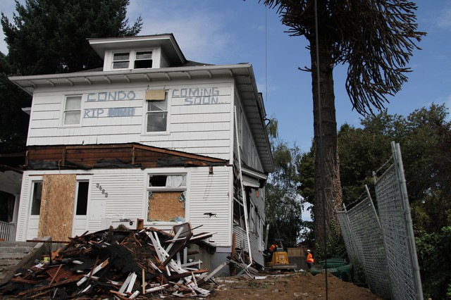Squatters protest the demolition of a home in Southeast Portland.