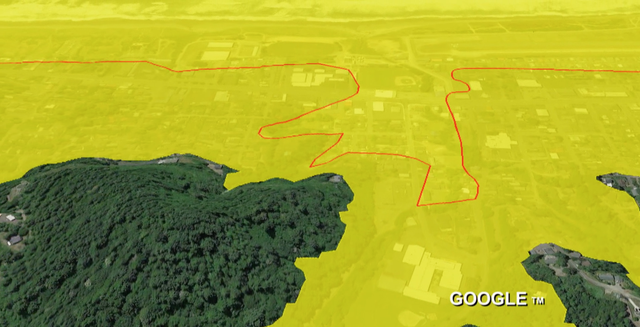 A comparison of tsunami inundation lines in Gold Beach. The red lines are where the 1995 maps end, the yellow around it is a projection from a new map.