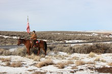 Duane Ehmer patrols the Malheur National Wildlife Refuge complex with his horse Hell Boy during the occupation of the refuge in early 2016.