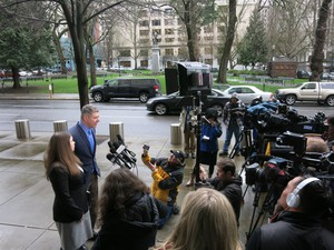 """Ammon Bundy's attorney, Mike Arnold, speaks in Portland. Bundy said, according to his attorney """"we have spent endless hours for weeks meeting with residents in Harney County."""""""