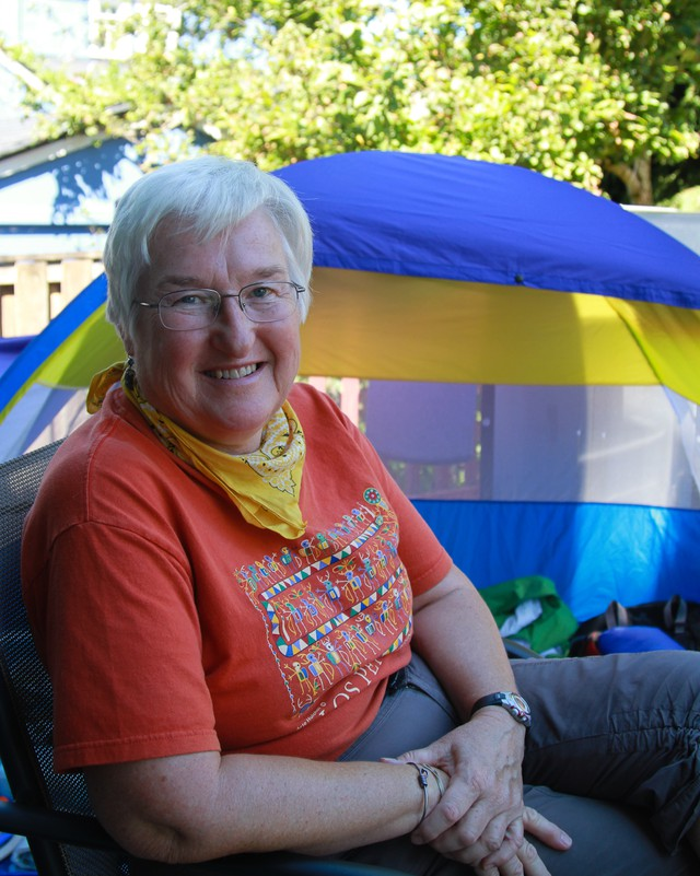 Anne Henderson, of North Portland, took part in the Red Cross Camp Prepare! exercise.