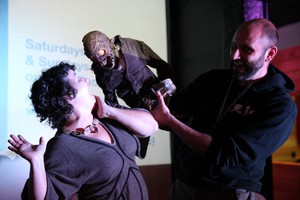 "For the zombie puppet Zed, threatening to eat someone — say host April Baer — is just another way of saying hello. He stars in ""Frank & Zed"" by filmmaker Jesse Blandard (right)."