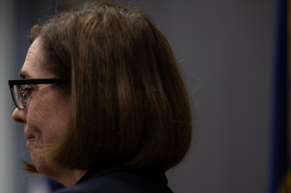 """At a press conference to address the coronavirus pandemic in Portland, Gov. Kate Brown said, """"There is still time for us to make a difference. We all need to stay home to stay healthy."""""""