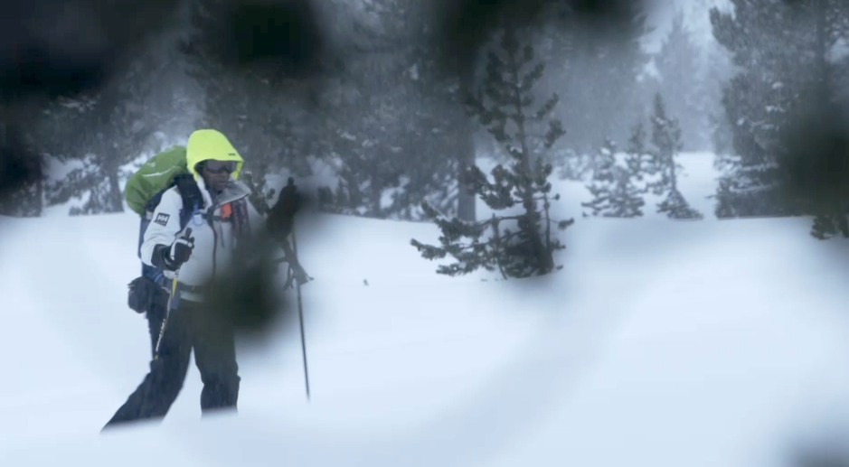 Carla Danley skis through the snow, en route to a backcountry hut.