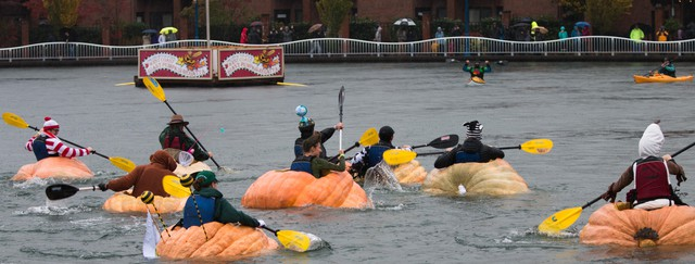 West Coast Pumpkin Regatta Features Boats Carved Out Of