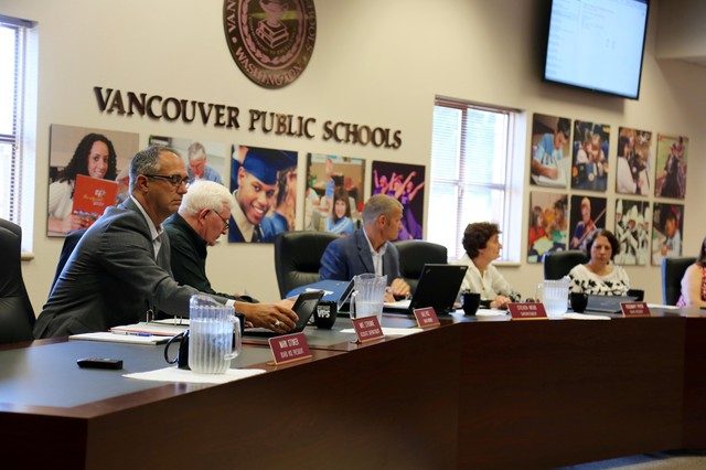 Members of the Vancouver Public Schools board of directors Tuesday, Jan. 8, 2019.