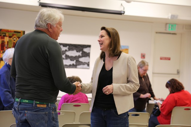 Democrat Carolyn Long meets voters at a town hall in Stevenson, Washington. Long is hoping to unseat incumbent Rep. Jaime Herrera Beutler.