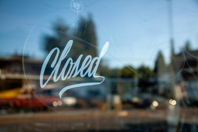 A closed sign on the window of Luce, an Italian restaurant inPortland, Oregon. On Monday, March 16, 2020, Gov. Kate Brown ordered restaurants and bars to stop all on-site dining and limit food sales to takeout and delivery service only to help prevent the spread of the new coronavirus.