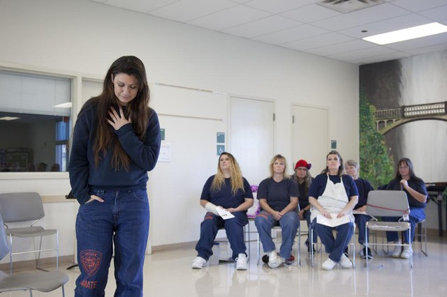 Theresa Alberts, one of the Theatre at Coffee Creek participants pictured during a series of monologue performances in October 2017.